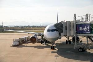 米子空港に8:20に到着したANA機