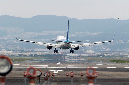 クロスウィンドなので機体がひねりながらの着陸です。