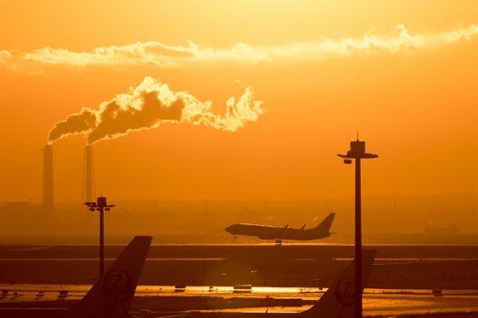 D滑走路から離陸するJALのB737-800