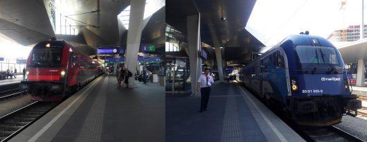右がプラハ行、左が空港行のRJ