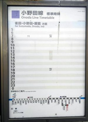 長門本山駅の時刻表
