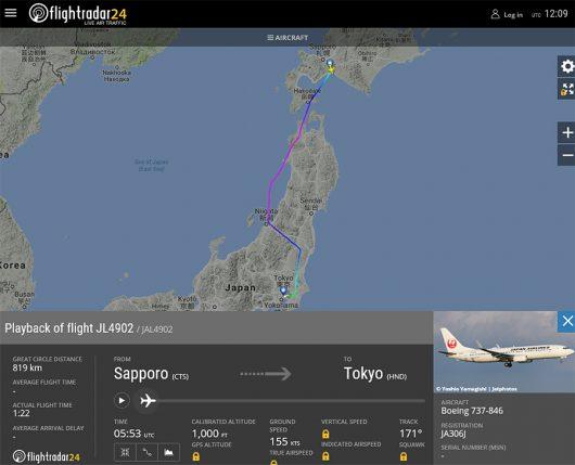 JAL4902便 B737-800 JA306Jの飛行経路