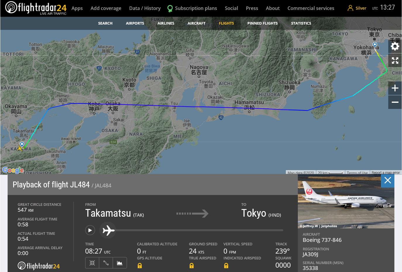 JAL484便航路