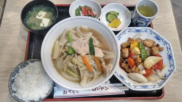 酢豚定食とちゃんぽん
