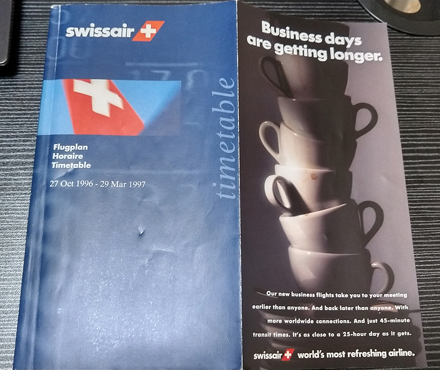 Swissair Timetable 1996-1997