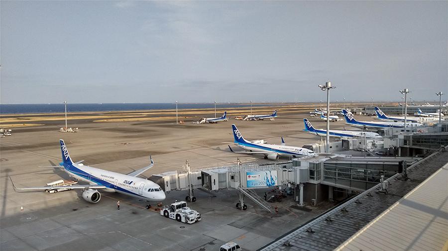 A321やB787が並ぶ羽田空港